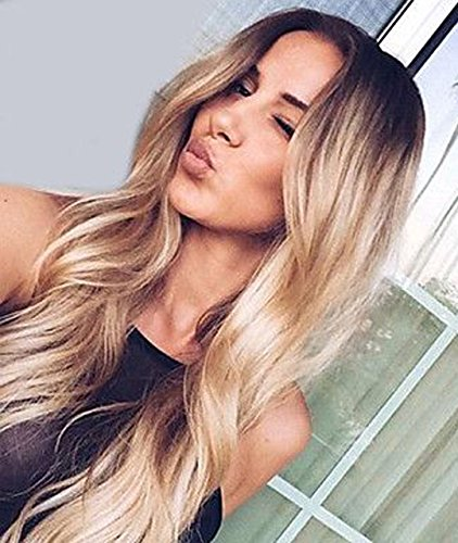 Zenith Golden Brown Ombre Lace Front Wigs for African American Women Dark Rooted Ombre Honey Blonde Wavy Wig 24 inches Long Synthetic Highlights Mixed Blonde Honey Hair with Natural Looking Parting - Lace Front African American Wigs