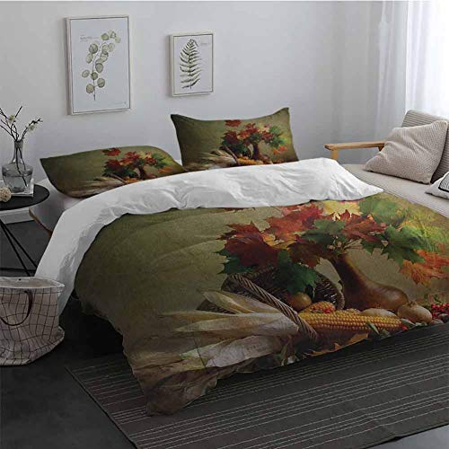 Bedding Duvet Cover 3 Piece Set Harvest Photograph from Death of The Nature Season Fall Vegetables and Leafs Wooden Table 1 Duvet Cover 2 Pillowcases Multicolor King