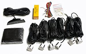 Parking Assist with Digital LED Display, 6 Backup Sensors (2 Front/4 Rear Drill-in White, special extended wires to about 20 feet) (SD6)