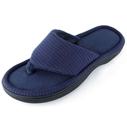 - Wishcotton Men's Classic Memory Foam Spa Thong House Shoes Fluffy Flip Flop Slippers (L, Navy)