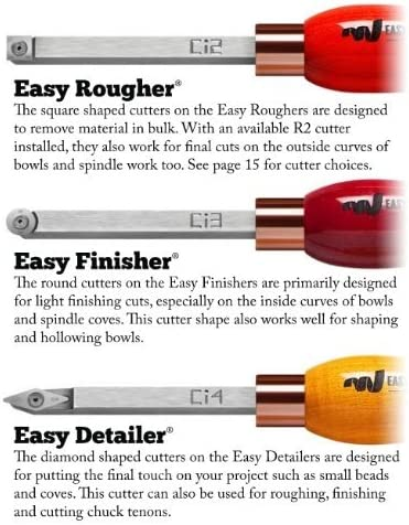 Finisher and Detailer with Maple Hardwood Handles Models 1200 Easy Wood Tools 3 Piece Combination Set of Full Size Replaceable Carbide Insert Lathe Turning Tools with Rougher 4200 and 7500 1200//4200//7500