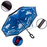 Coowan Double Layer Inverted Umbrella Cars Reversible Umbrella,Self-Standing & C-Shape Handle & Carrying Bag for Free Hands (Blue sky)
