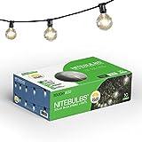 Touch Of ECO Solar Patio Bulb String Lights NITEBULBS, Black, 12.5'