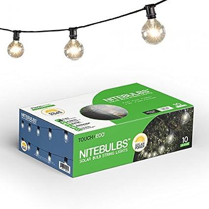 Touch Of ECO Solar Patio Bulb String Lights NITEBULBS, Black, 12.5u0027