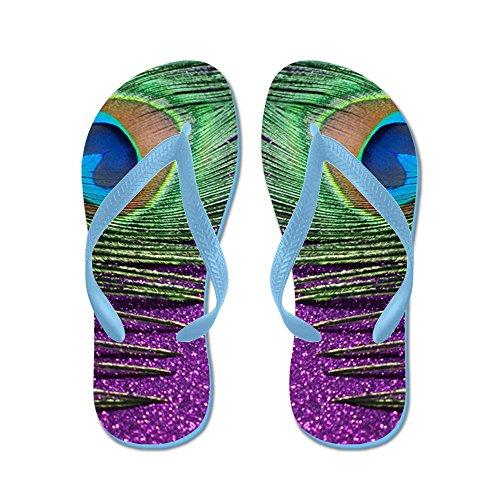 Tendaggi Scintillanti Di Pavone Viola - Infradito, Divertenti Sandali Infradito, Sandali Da Spiaggia Blu Caraibico