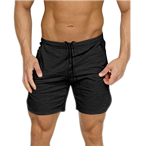 Men's Gym Workout Shorts Running Short Pants Fitted Training Bodybuilding Jogger with Zipper Pockets Azure L Tag XXL