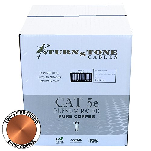 Turnstone Cables Solid Cat5e Plenum Pure Copper 350Mhz (White, 1000ft, 24AWG) (1000 Foot Cat5e 350mhz Cable)