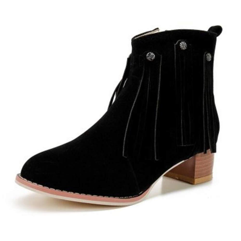CITW Herbstliche Damenstiefel Brüten Stiefel Mit Großformatigen Damen Stiefeln Gefrostete Damenstiefel-Mode Stiefel,schwarz,UK1 EUR35