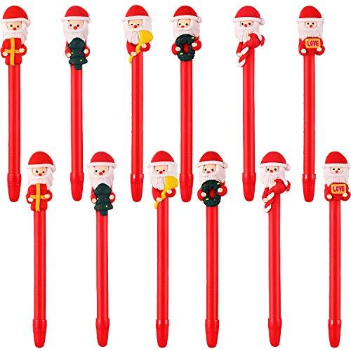 Blulu 12 Pieces Christmas Pens Ballpoint Pen Set Soft Pottery Gel Ink Pen Christmas Decoration for Office Home School (Color Set 1) -