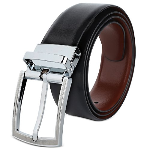 Savile Row High Quality Men's Reversible 100% Leather Classic Dress Belt (Size 38)-#713-Black/Brown (Quality Leather Brown)