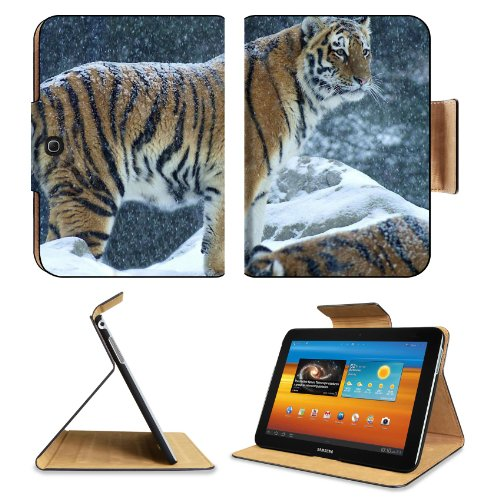 Tiger Snow Mountain Wildlife Cat Animal Samsung Galaxy Tab 3 10.1 Flip Case Stand Magnetic Cover Open Ports Customized Made to Order Support Ready Premium Deluxe Pu Leather 9 7/8 Inch (250mm) X 7 1/4 Inch (183mm) X 11/16 Inch (17mm) Liil Galaxy Tab3 Cases Tab_10.1 three Accessories Graphic Background Covers Designed Model Folio Sleeve HD Template Designed Wallpaper Photo Jacket Wifi 16gb 32gb 64gb Luxury Protector