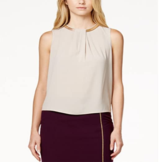 Calvin Klein Womens Chain Sleeveless Blouse Beige XL at Amazon ...