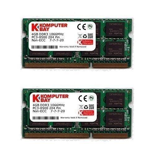 Komputerbay 8Go (2x 4Go) DDR3 SODIMM (204 pin) 1066Mhz PC3-8500 (7-7-7-20) PC portable Mémoire pour Apple Macbook Pro
