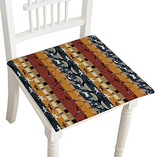 HuaWuhome Premium Chair Cushion Seamless African with Figures of Primitive People and Animals Cushions 16''x16''x2pcs by HuaWuhome