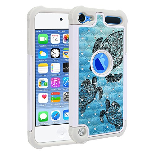 Apple iPod Touch 5 iPod Touch 6 (6th Generation) Case, Fincibo (TM) Dual Layer Shock Proof Hybrid Hard Protector Cover Anti-Drop Silicone Star Studded Rhinestone Bling, Ocean Sea Turtle