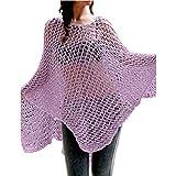 Nacome Women Swimwear Beach Cover UP Crochet Rash Guard Hollow Out Blouse (Purple)