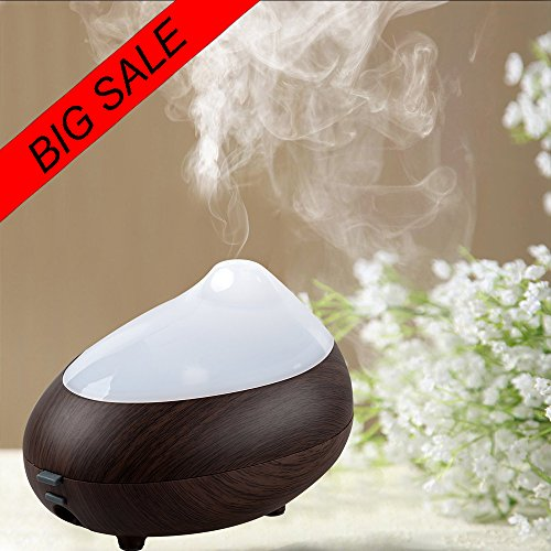 【Promotion 】120ML Aroma Diffuser with Cool Mist , TurnRaise Aromatherapy Humidifier with Diffuser with Colorful LED Lights(Dark Wood)