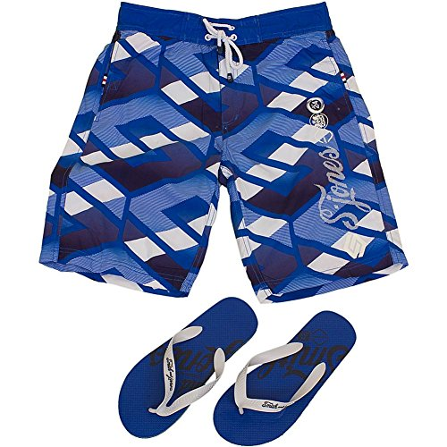 Smith & Jones Latitude Boardshort Swimshorts & Flip Flops Bundle Set (L, blue)