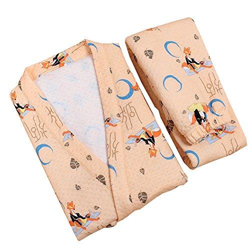 女性の和風ロープ綿の着物パジャマスーツドレスドレスセットオレンジフォックス