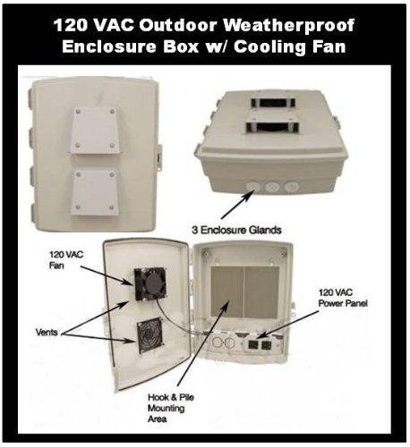 120 VAC OUTDOOR Weatherproof Enclosure with Cooling Fan - Cabinet Box Waterproof (Nema 3r Weatherproof Enclosure)