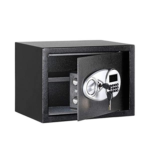 Amazon Basics Steel Security Safe with Programmable Electronic Keypad - Secure Cash, Jewelry, ID Documents - Black, 0.5… 2