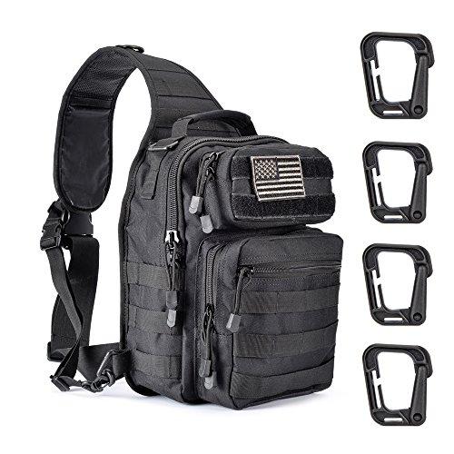 Weanas Tactical Sling Bag Pack, Military Shoulder Sling Backpack with 4 Tactical D-Ring Clips (Everyday Sling Bag)