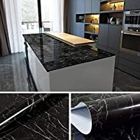 Yenhome Faux Marble Countertops Peel and Stick 60cm x 5m Jazz Black Countertop Contact Paper Marble Wallpaper for Kitchen Cabinets Shelf and Drawer Liner Self adhesive Vinyl Film