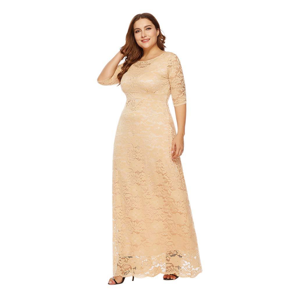 Xinvision Plus Size Full Lace Maxi Dress Pockets Wedding Ceremony Dress XL-6XL