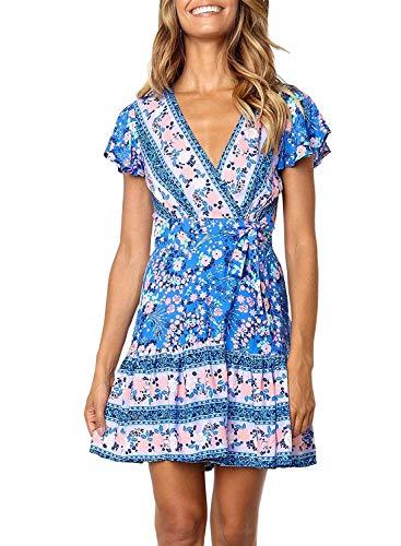 Womens Bohemian Dresses Loose Summer Cotton Semi Formal Shift Tunics Dress Casual Trapeze Beach Wear Printed Tunic Dresses for Women Red Size L ()