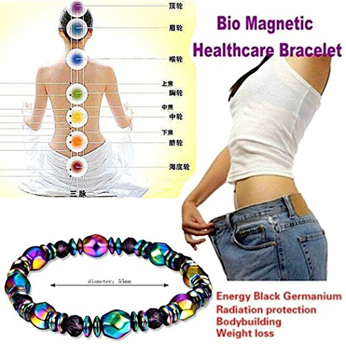 KaiKBax Colorful Hematite Chain Bracelet Unisex Magnet Health Care Hand-Woven Hand String Weight Loss Bracelet