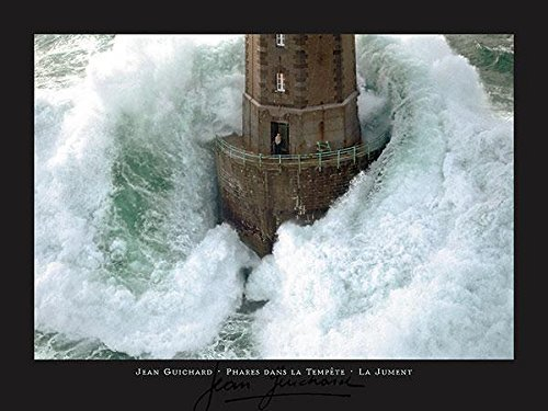 - Buyartforless La Jument Phares Dans La Tempete Lighthouse Photograph by Jean Guichard 31.5x23.5 Art Print Poster Wall Decor Famous Image Lighthouse with Crashing Wave Man Standing Outside