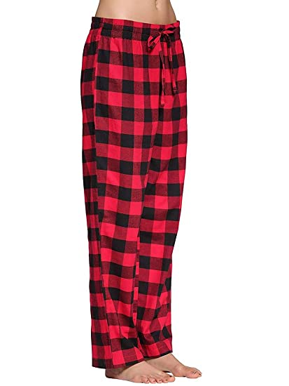 Women s Sleepwear 100% Cotton Super Soft Flannel Plaid Pajama Lounge Pants  Black Red Size XS 93f643579