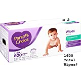 Parent's Choice Fragrance Free Baby Wipes, 1600 Sheets Total - 2 Boxes of 800