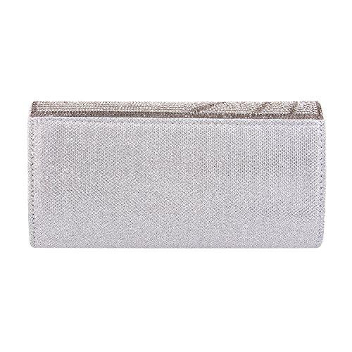 Dazzling Boutique Shiny Women Clutch Silver Party Ladies Handbag Bag Silver3 Evening Wedding Purse Novias waqIn4tdI