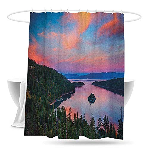 huimaoxiangbaowangdian Travel Shower Curtain Lake Tahoe California Photography Rustic Themes Sundown Time Freshwater Sierra Nevada Lake Bathroom Decoration W59×L70 Multicolor