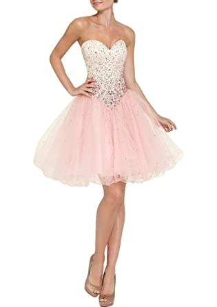 Zhu Li Ya Womens Mini Prom Dress Beaded Tulle Homecoming Dresses Pink 2