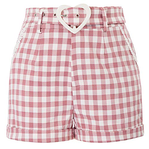 Belted Cuffed Shorts - Women Girls 50s Style Vintage Shorts Cute Heart Belted Cuffed Shorts, Pink Plaid, X-Large