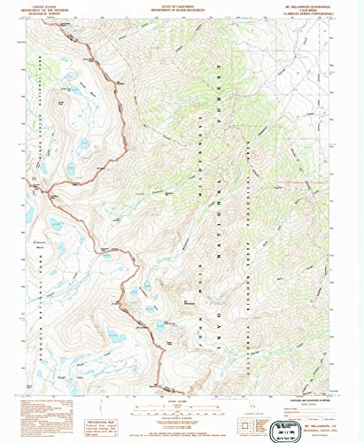 YellowMaps Mt Williamson CA topo map, 1:24000 Scale, 7.5 X 7.5 Minute, Historical, 1993, Updated 1994, 26.8 x 22 in - ()