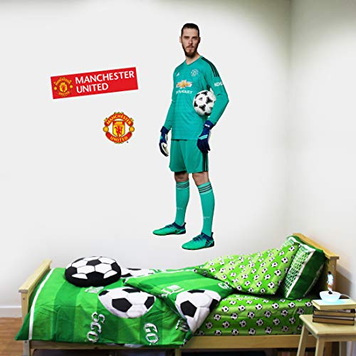 Beautiful Game Ltd Manchester United Football Club Official David De GEA Wall Sticker + Man Utd Logo Decals Vinyl Poster Print Mural Art (120cm ()