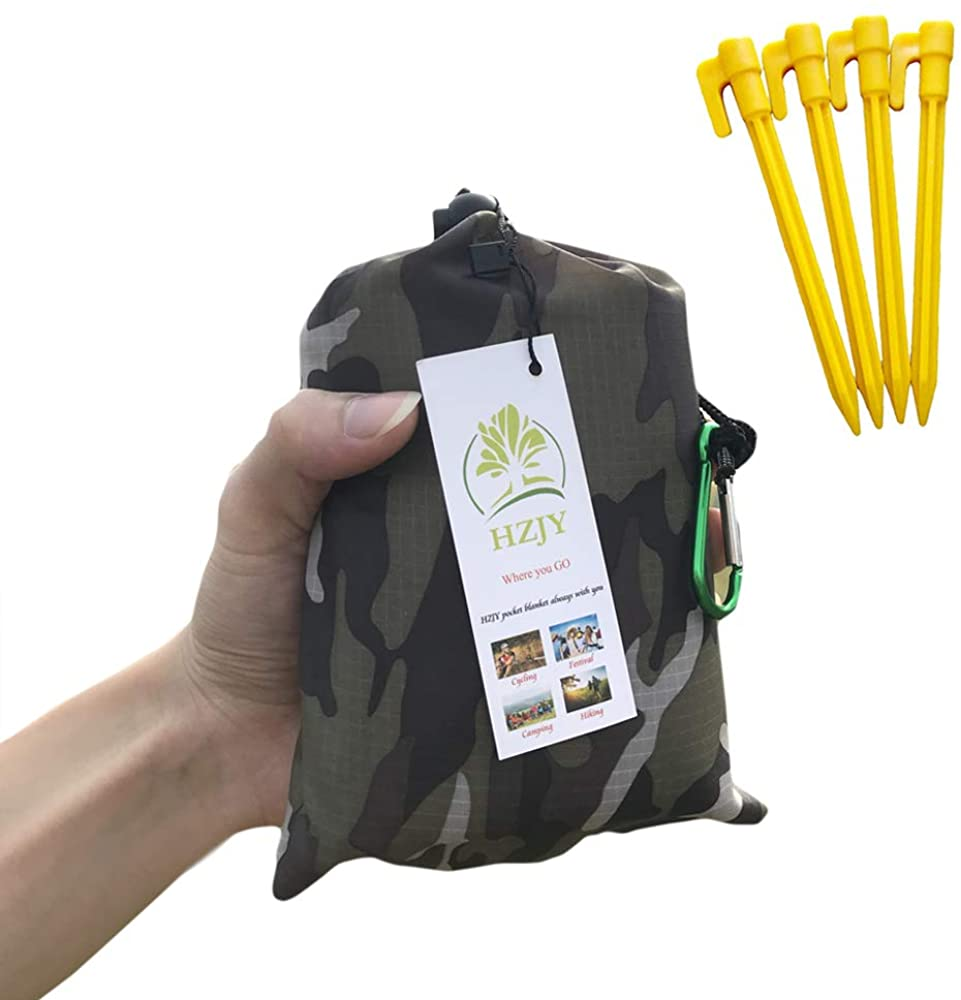 """HZJOYUE Outdoor Blanket (71"""" x 55"""") -Compact, Lightweight, Sand Proof Pocket Blanket Best Mat for The Beach, Hiking, Travel, Camping, Festivals with Pockets, Loops, Stakes, Carabiner"""