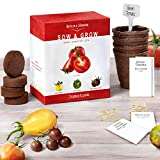 Grow 4 Tomatoes Varieties From Seed - Indoor Germination Kit with 4 Packets of NON-GMO Organic Seeds - Sweet Red Tomato, Cherry Tomatoes, Yellow Pear Tomato, Green Zebra Tomato, Soil, Pots & Guide.