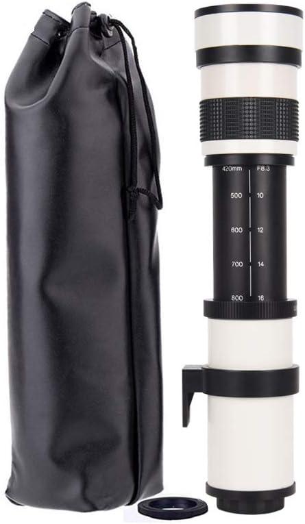 JINTU 420-800 mm F/8.3 Lente teleobjetivo, Enfoque Manual Zoom Lente para cámara Canon Rebel T5 T5i T6 T6i 70D 80D 5D SLR DSLR cámara + Bolsa de Transporte Blanco en fotografías Silvestres