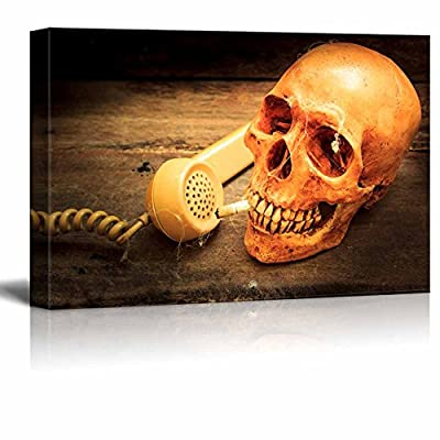 Canvas Prints Wall Art - Skull with Cigarette, and Old Wood Background - 12