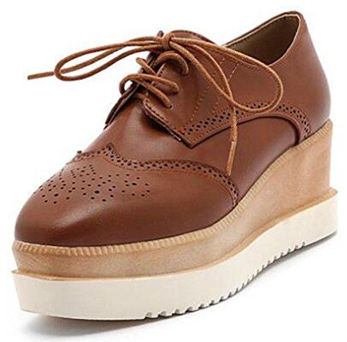 Idifu Womens Casual Vierkante Neus Midgeile Hakken Platform Sneaker Lace Up Lage Top Brogues Schoenen Bruin