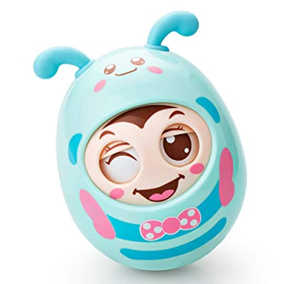 Kpop Space Cartoon Tumbler Doll Baby Toys Cute Rattles Ring Bell Newborns Early Educational Toy for Children & Kids Boys and Girls Random Color(Blue) : Baby