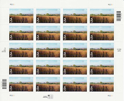 Nine Mile Prairie Stamp Sheet of Twenty 70 Cent Stamps Scott C136