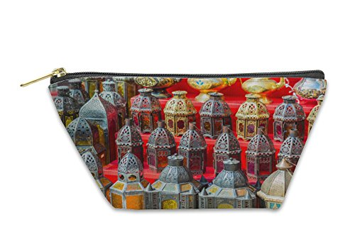 Gear New Accessory Zipper Pouch, Row Of Shiny Traditional Coffee Pots And Lamps, Small, 5928301GN (Traditional 8 Light Pot)