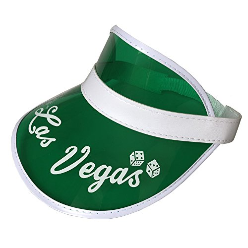YH Poker 5PCS Las Vegas Green Dealer Visors,Costume Hat, One Size Fits Most,Expandable Headband -