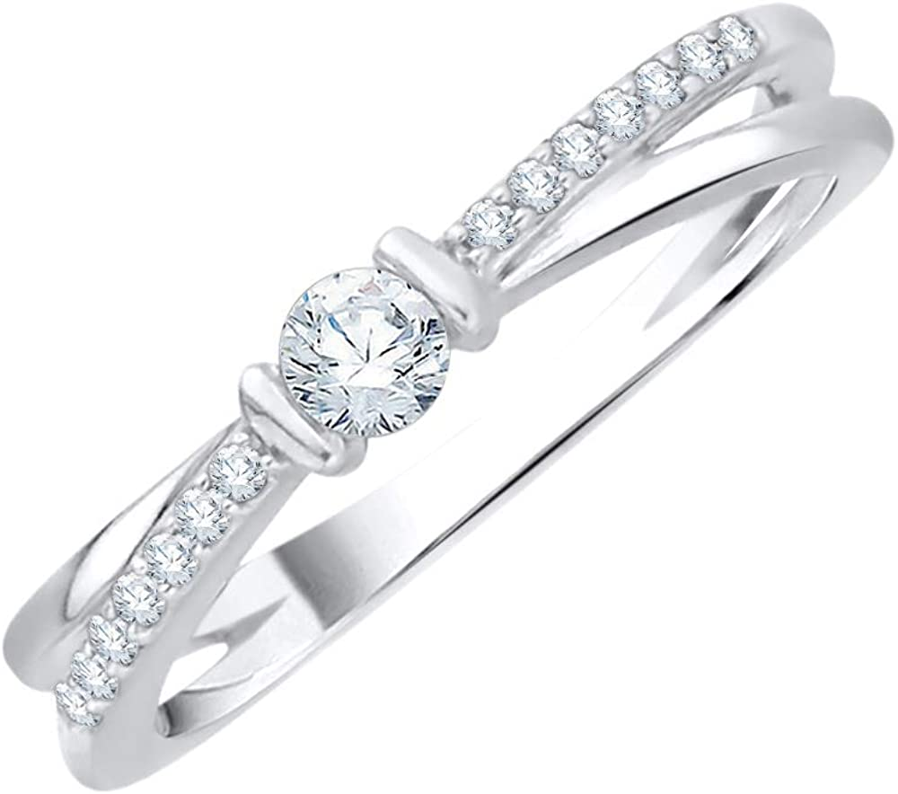 Diamond Wedding Band in Sterling Silver 1//8 cttw, Size-3.5 G-H,I2-I3