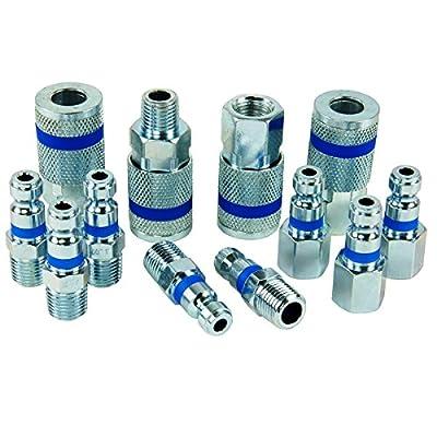 PowerMate Vx 036-0167CT Coupler & Plug Color Match Kit (12Piece), Automotive Type, 1/4 In. Npt, Blue